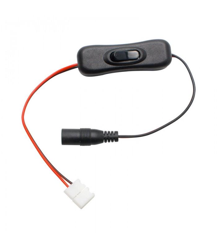 Conector para tira led con interruptor y jack hembra