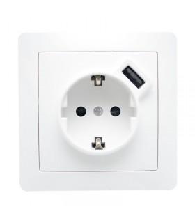 ENCHUFE + USB EMPOTRABLE PRI 230VAC- SEC 5VDC
