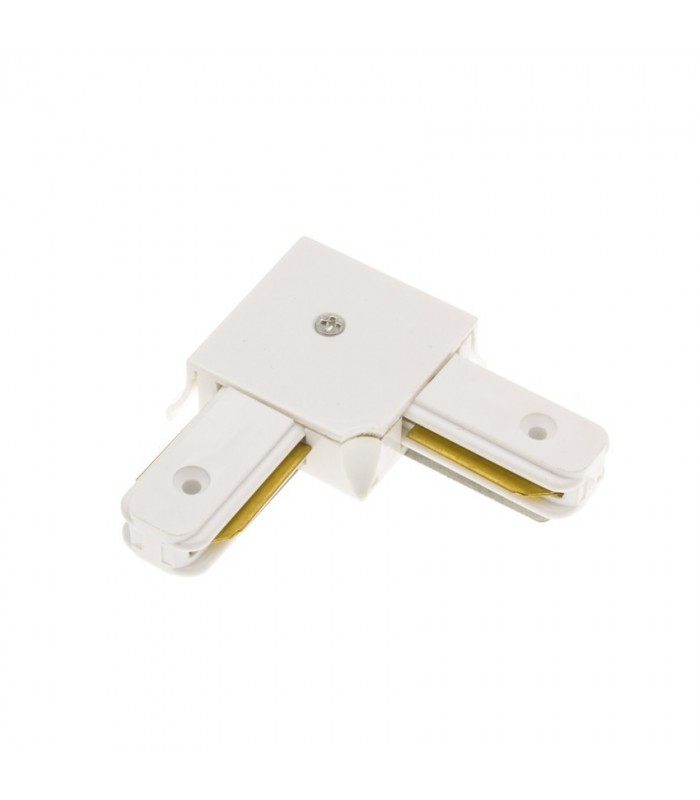 "CONECTOR LED CARRIL MONOFASICO BLANCO ""L"""